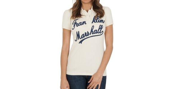 Dámské krémové polo tričko s nápisem Franklin & Marshall
