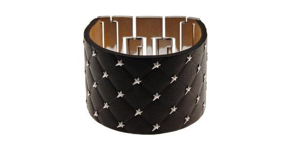 Široký černý kožený náramek Thierry Mugler s kovovými hvězdami