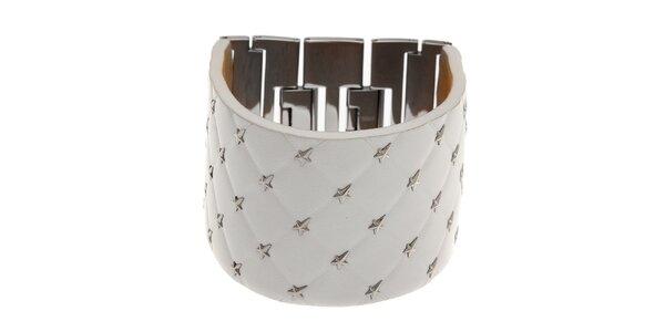 Široký bílý kožený náramek Thierry Mugler s kovovými hvězdami