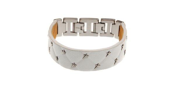 Úzký bílý kožený náramek Thierry Mugler s kovovými hvězdami