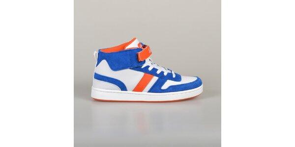 Pánské modro-oranžovo-bílé tenisky Lando