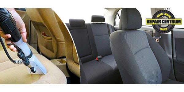 Důkladné tepování interiéru vozu včetně kufru