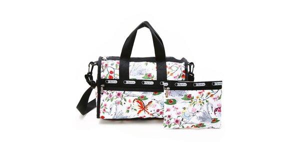 Dámská bílá cestovní taška s barevným potiskem a popruhem přes rameno LeSportSac