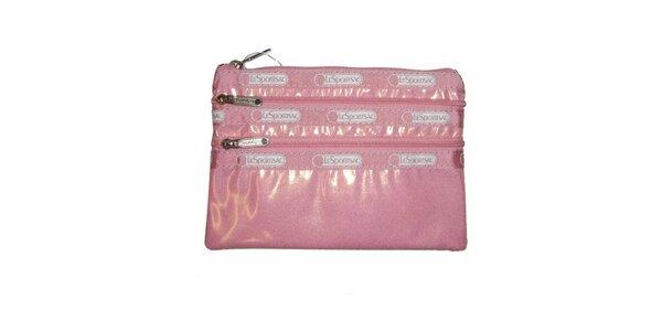 Dámská růžová lesklá taštička LeSportsac
