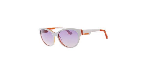Dámské bílo-oranžové sluneční brýle s šedými sklíčky