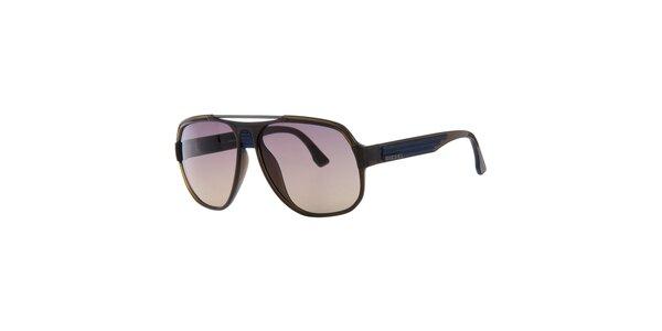Pánské retro modro-hnědé sluneční brýle Diesel