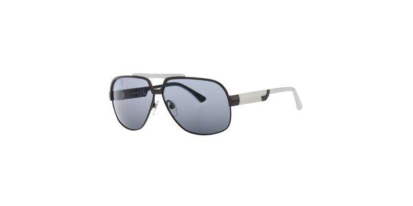 Pánské černo-bílé sluneční brýle s tmavě šedými sklíčky Diesel