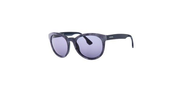 Dámské šedé sluneční brýle Diesel se vzorem a modře zabarvenými sklíčky