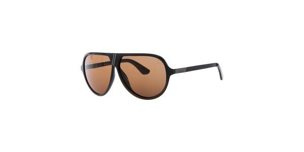 Pánské retro černé sluneční brýle s oranžovými sklíčky Diesel