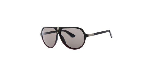 Pánské retro černé sluneční brýle s šedými sklíčky Diesel