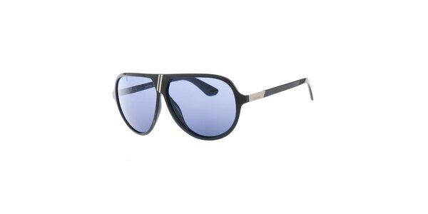 Pánské retro černé sluneční brýle s modrými sklíčky Diesel