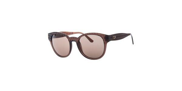 Dámské hnědé sluneční brýle s reliéfním povrchem Diesel