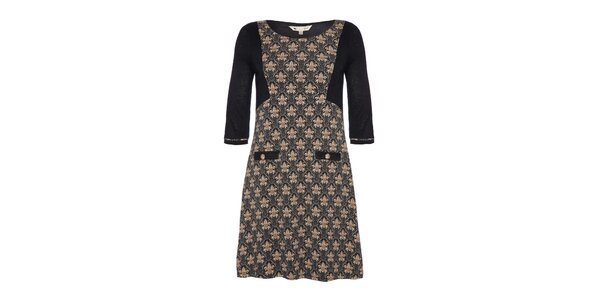 Dámské šedobéžové šaty s 3/4 rukávem a vzorem Yumi