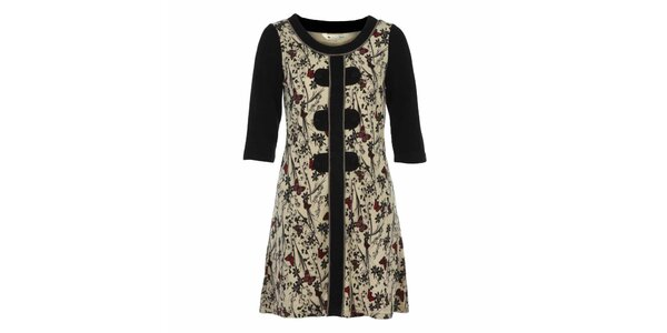 Dámské krémové šaty s motýlky a tmavými rukávy Yumi