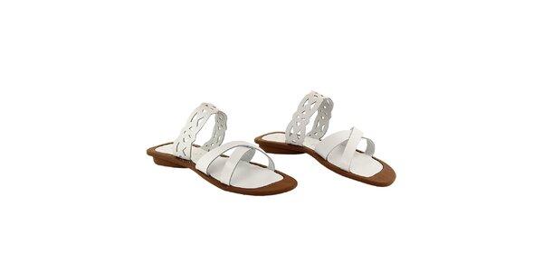 Dámské bílé pantofle s ozdobným páskem La Bellatrix