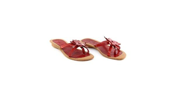 Dámské červené pantofle s kytičkou La Bellatrix