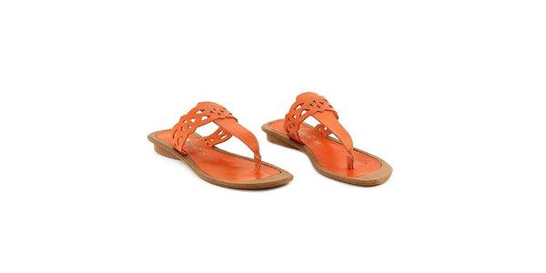 Dámské oranžové kožené žabky La Bellatrix