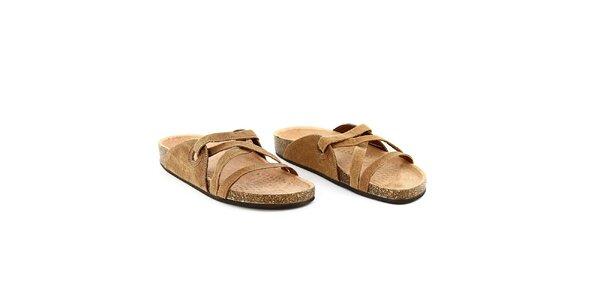 Dámské hnědé semišové pantofle La Bellatrix