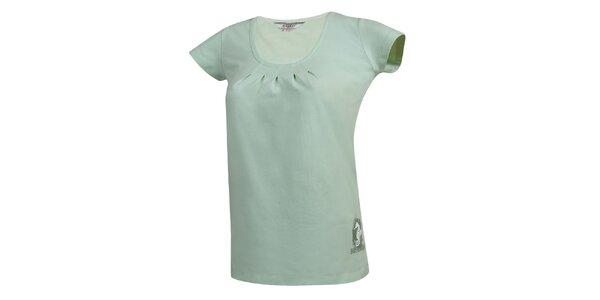 Dámské světle zelené tričko s nařaseným dekoltem Bushman