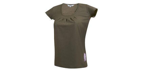 Dámské khaki tričko s nařaseným dekoltem Bushman