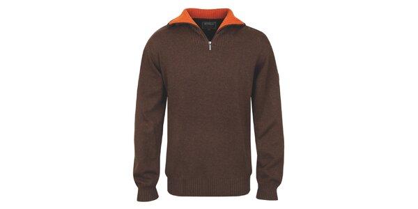 Pánský hnědý polopropínací svetr s oranžovým límcem Bushman