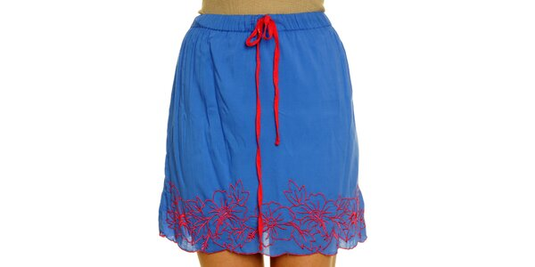 Dámská modrá sukně s červenou výšivkou Nice Things