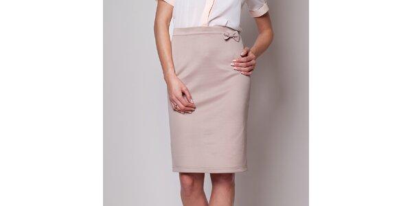 Dámská béžová pouzdrová sukně s mašličkou Figl