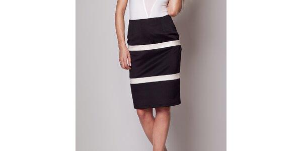 Dámská černá pouzdrová sukně s pruhy Figl
