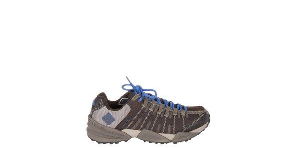 Dámské nízké tmavě hnědé trekové boty Columbia s modrými detaily