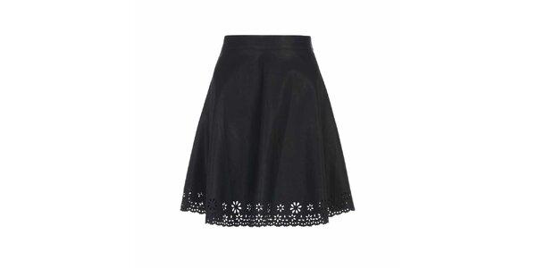 Dámská černá sukně s perforovaným lemem Yumi