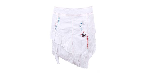 Dámská bílá sukně s asymetrickým střihem a mačkaným povrchem Dislay DY Design