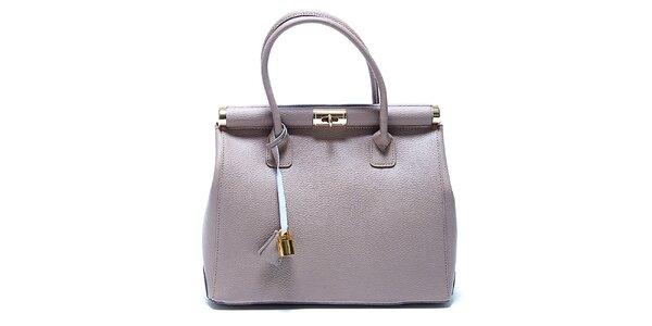 Trendy světle šedá kožená kabelka Renata Corsi