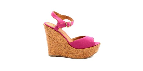 Dámské fuchsiové sandále na korkové platfromě Bagatt