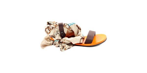 Dámské hnědo-oranžové sandálky s šátkovou částí Bagatt