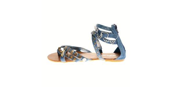 Dámské denimové sandály Buffalo s kovovými ozdobami
