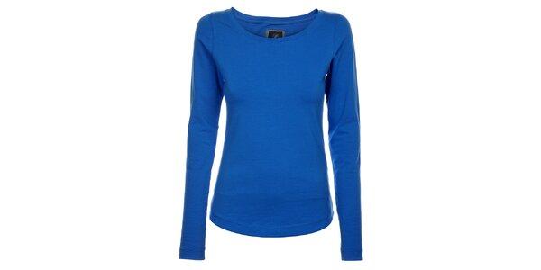 Dámské azurově modré bavlněné tričko Pietro Filipi s dlouhým rukávem