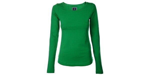 Dámské trávově zelené bavlněné tričko Pietro Filipi s dlouhým rukávem