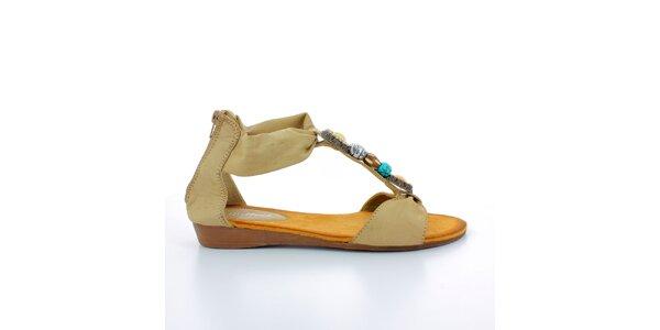 f68a3313ffe3 Dámské béžové látkové sandále s korálky GirlHood