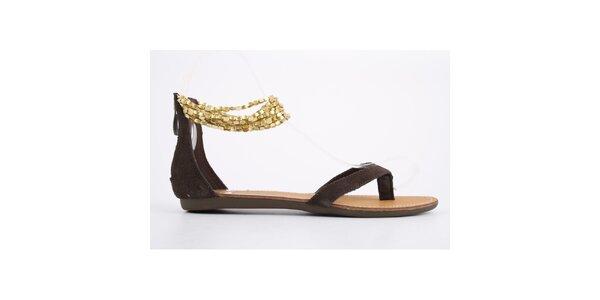 Dámské hnědé semišové sandály Les Tropeziennes se zlatými řetízky