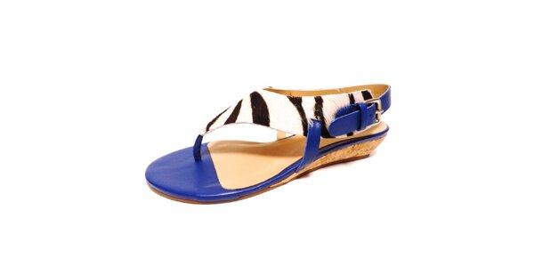 Dámské modré sandálky se zebřím motivem Via Uno