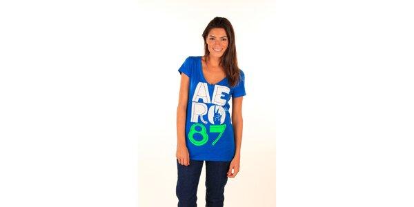Dámské modré tričko s potiskem Aéropostale