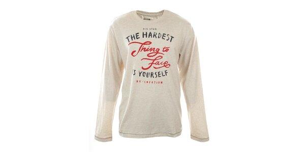 Pánské béžově melírované tričko s nápisem Big Star