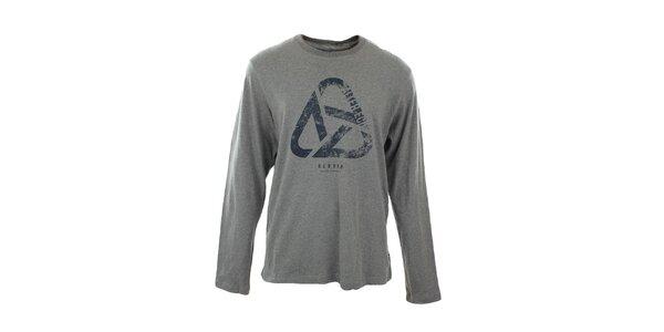 Pánské šedé tričko s dlouhým rukávem a potiskem Big Star
