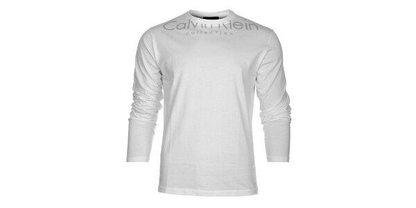 Pánské bílé tričko Calvin Klein s šedým potiskem