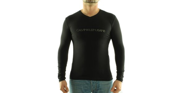 Pánské černé tričko Calvin Klein s kamínky