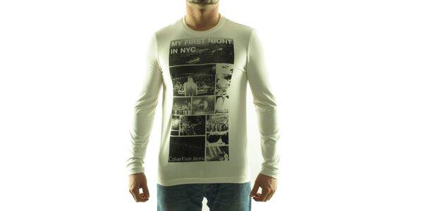 Pánské krémové tričko Calvin Klein s foto potiskem