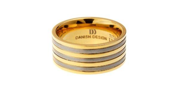 Dámský titanový prsten Danish Design se zlatými proužky