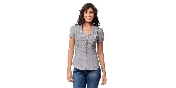 Dámská černobílá kostkovaná košile Guess s volánky a6932040da
