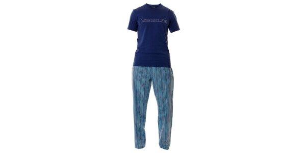 Pánské světle modré pyžamo Calvin Klein s dlouhými kalhotami