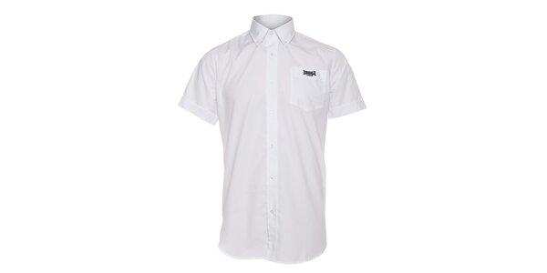 Pánská bílá košile Lonsdale s krátkým rukávem a černou výšivkou